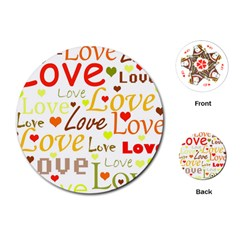 Valentine s Day Pattern Playing Cards (round)