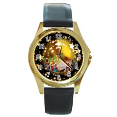 Christmas Crib Virgin Mary Joseph Jesus Christ Three Kings Baby Infant Jesus 4000 Round Gold Metal Watch by yoursparklingshop
