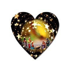 Christmas Crib Virgin Mary Joseph Jesus Christ Three Kings Baby Infant Jesus 4000 Heart Magnet by yoursparklingshop