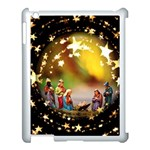 Christmas Crib Virgin Mary Joseph Jesus Christ Three Kings Baby Infant Jesus 4000 Apple iPad 3/4 Case (White) Front