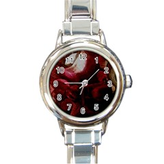 Dark Red Candlelight Candles Round Italian Charm Watch by yoursparklingshop