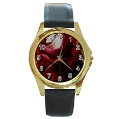 Dark Red Candlelight Candles Round Gold Metal Watch by yoursparklingshop