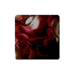 Dark Red Candlelight Candles Square Magnet by yoursparklingshop