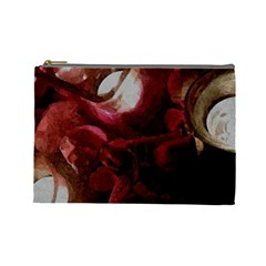 Dark Red Candlelight Candles Cosmetic Bag (large)  by yoursparklingshop