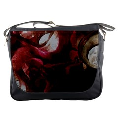 Dark Red Candlelight Candles Messenger Bags by yoursparklingshop