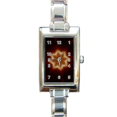 Christmas Flower Star Light Kaleidoscopic Design Rectangle Italian Charm Watch by yoursparklingshop