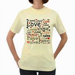 Love Pattern   Red Women s Yellow T Shirt by Valentinaart