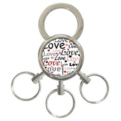 Love Pattern   Red 3 Ring Key Chains by Valentinaart
