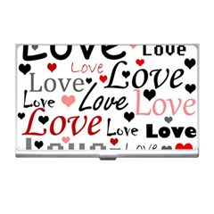 Love Pattern   Red Business Card Holders by Valentinaart