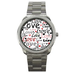 Love Pattern   Red Sport Metal Watch by Valentinaart
