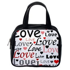 Love Pattern   Red Classic Handbags (one Side) by Valentinaart