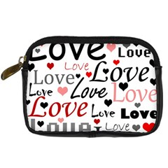 Love Pattern   Red Digital Camera Cases by Valentinaart