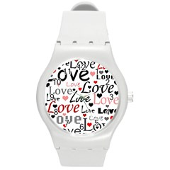 Love Pattern - Red Round Plastic Sport Watch (m) by Valentinaart