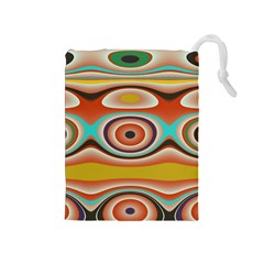 Oval Circle Patterns Drawstring Pouches (medium)  by digitaldivadesigns