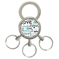 Love Pattern   Cyan 3 Ring Key Chains by Valentinaart