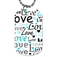 Love Pattern   Cyan Dog Tag (one Side) by Valentinaart