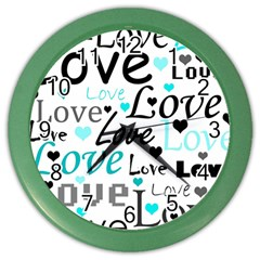 Love Pattern   Cyan Color Wall Clocks by Valentinaart