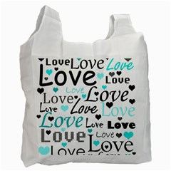 Love Pattern   Cyan Recycle Bag (one Side) by Valentinaart