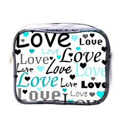 Love Pattern   Cyan Mini Toiletries Bags by Valentinaart