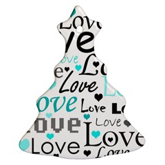 Love Pattern   Cyan Christmas Tree Ornament (2 Sides)
