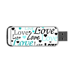 Love Pattern   Cyan Portable Usb Flash (one Side) by Valentinaart