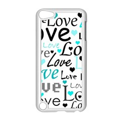 Love Pattern   Cyan Apple Ipod Touch 5 Case (white) by Valentinaart