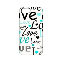 Love Pattern   Cyan Apple Iphone 5 Classic Hardshell Case (pc+silicone) by Valentinaart