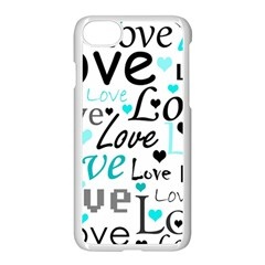 Love Pattern   Cyan Apple Iphone 7 Seamless Case (white) by Valentinaart