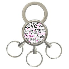 Love Pattern   Magenta 3 Ring Key Chains by Valentinaart