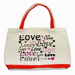 Love Pattern   Magenta Classic Tote Bag (red) by Valentinaart
