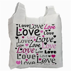 Love Pattern   Magenta Recycle Bag (one Side) by Valentinaart