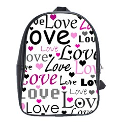 Love Pattern   Magenta School Bags (xl)  by Valentinaart