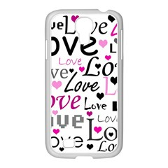 Love Pattern   Magenta Samsung Galaxy S4 I9500/ I9505 Case (white) by Valentinaart