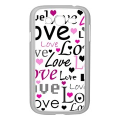 Love Pattern   Magenta Samsung Galaxy Grand Duos I9082 Case (white) by Valentinaart