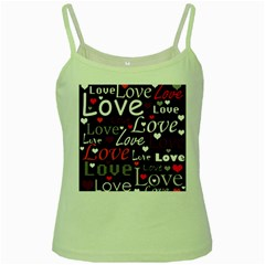 Red Love Pattern Green Spaghetti Tank by Valentinaart