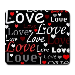 Red Love Pattern Large Mousepads by Valentinaart