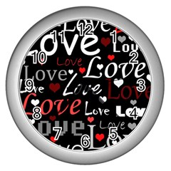 Red Love Pattern Wall Clocks (silver)  by Valentinaart