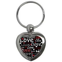 Red Love Pattern Key Chains (heart)  by Valentinaart