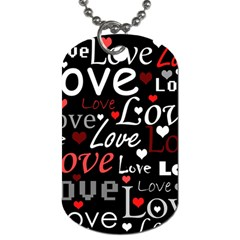 Red Love Pattern Dog Tag (two Sides) by Valentinaart