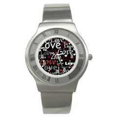 Red Love Pattern Stainless Steel Watch by Valentinaart