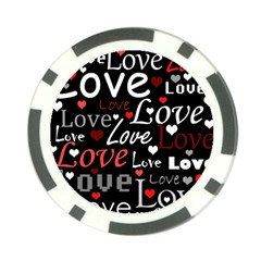 Red Love Pattern Poker Chip Card Guards by Valentinaart