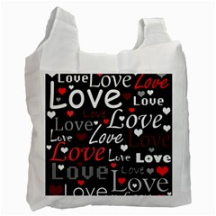 Red Love Pattern Recycle Bag (two Side)  by Valentinaart