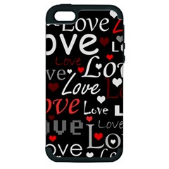 Red Love Pattern Apple Iphone 5 Hardshell Case (pc+silicone)