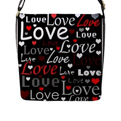 Red Love Pattern Flap Messenger Bag (l)  by Valentinaart