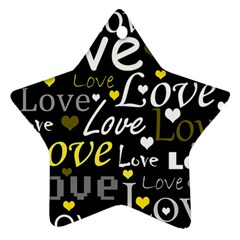 Yellow Love Pattern Ornament (star)  by Valentinaart