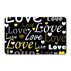 Yellow Love Pattern Magnet (rectangular) by Valentinaart