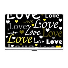 Yellow Love Pattern Business Card Holders by Valentinaart