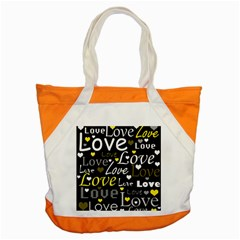 Yellow Love Pattern Accent Tote Bag by Valentinaart
