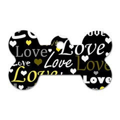 Yellow Love Pattern Dog Tag Bone (two Sides) by Valentinaart