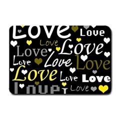 Yellow Love Pattern Small Doormat  by Valentinaart